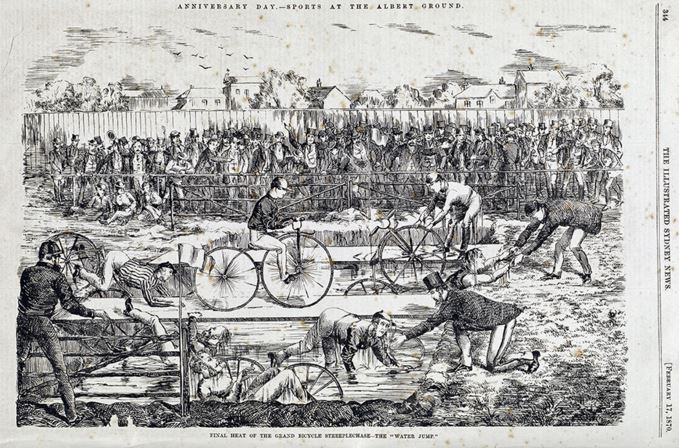 Final Heat of the Grand Bicycle Steeplechase - The Water Jump Redfern 26 January 1870